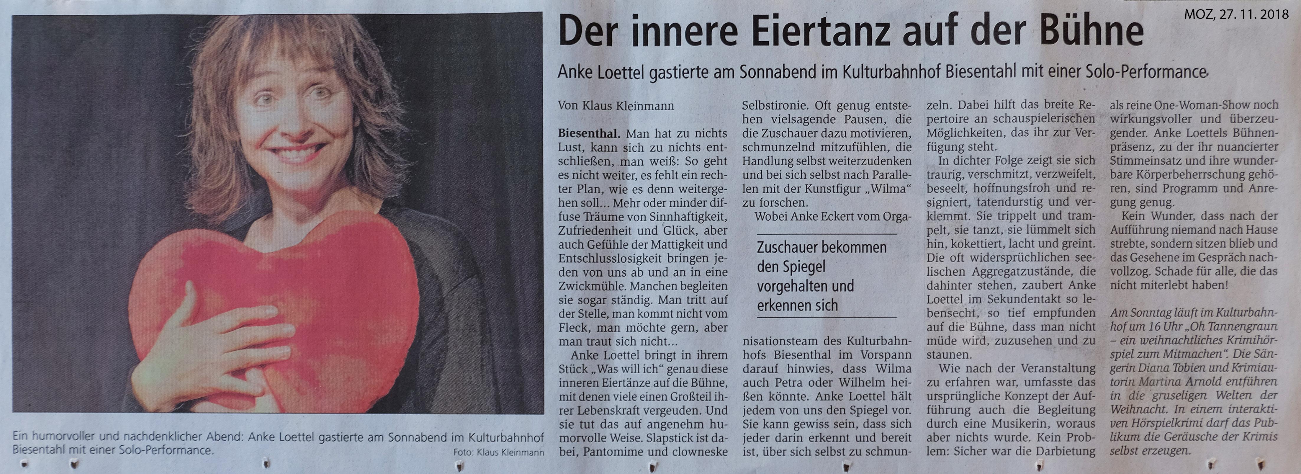Tanz und Theater-Theater mit Seele-Artikel über WAS WILL ICH K.Kleinmann
